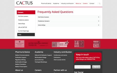 Screenshot of FAQ Page cactusglobal.com - Frequently Asked Questions | cactusglobal.com - captured Sept. 19, 2014