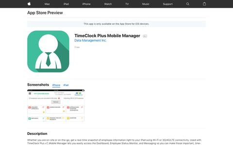 TimeClock Plus Mobile Manager on the AppStore