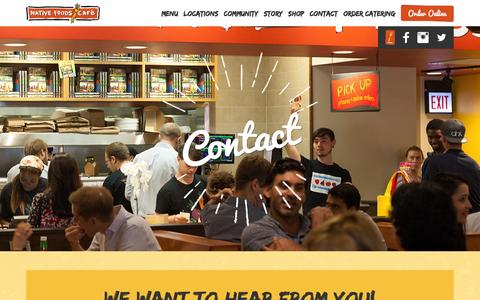 Screenshot of Contact Page nativefoods.com - Contact | Native Foods Cafe - captured Feb. 4, 2016