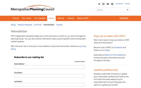 Screenshot of Signup Page metroplanning.org - Newsletter - Metropolitan Planning Council - captured Oct. 18, 2018
