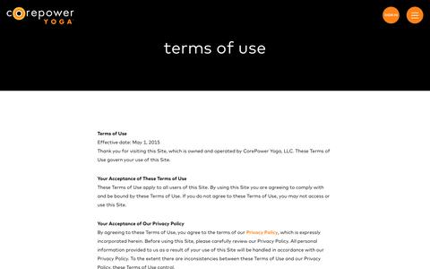 Terms of Use | CorePower Yoga