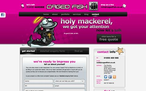 Screenshot of Contact Page cagedfish.co.uk - Web design and internet marketing by Caged Fish of Leicester - captured Sept. 26, 2014