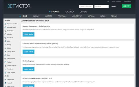 Screenshot of Jobs Page betvictor.com - Careers - BetVictor - captured Dec. 9, 2018