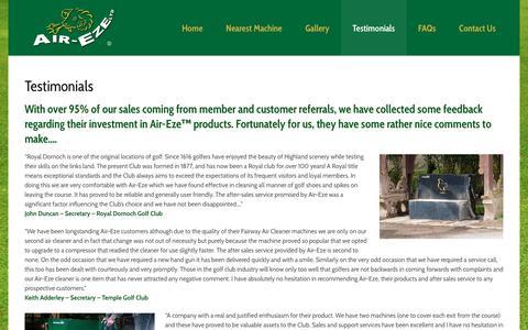 Screenshot of Testimonials Page air-eze.co.uk - Testimonials   Air-Eze - captured Oct. 3, 2018