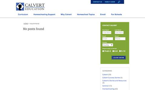 Screenshot of Testimonials Page calverteducation.com - recommend Archives - Calvert Education - captured May 4, 2018