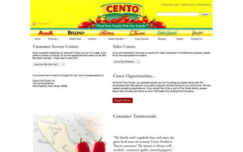 Screenshot of Contact Page Jobs Page Support Page cento.com - Contact Us - captured Oct. 22, 2014