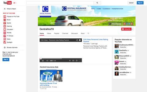 Screenshot of YouTube Page youtube.com - CentralInsTX  - YouTube - captured Oct. 22, 2014