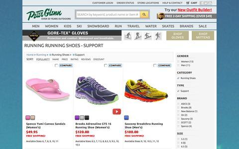 Screenshot of Support Page peterglenn.com - Running Running Shoes - Support | Peter Glenn - captured Jan. 17, 2016