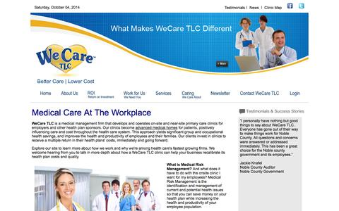 Screenshot of Home Page Terms Page wecaretlc.com - We Care TLC | Managed Healthcare | Medical Risk Management | On-Site Healthcare Clinics - captured Oct. 4, 2014