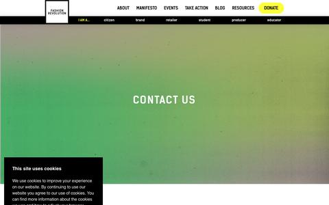 Screenshot of Contact Page fashionrevolution.org - CONTACT US - Fashion Revolution : Fashion Revolution - captured Oct. 10, 2018