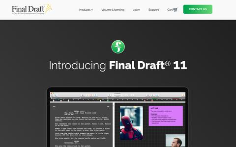 Screenshot of Products Page finaldraft.com - Scriptwriting Apps & Software for Mac and Windows | Final Draft® 11 - captured Oct. 10, 2018