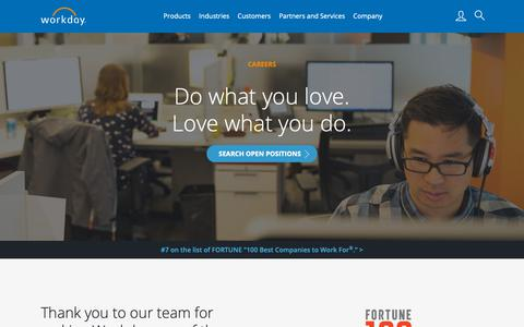 Screenshot of Jobs Page workday.com - Workday Careers | Join Us & Love What You Do‎ - captured Feb. 6, 2019