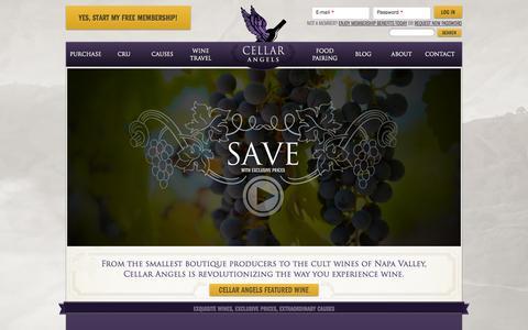 Screenshot of Home Page cellarangels.com - Cellar Angels | Exquisite Wines, Exclusive Prices, Extraordinary Causes - captured Jan. 18, 2015