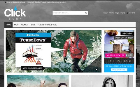 Screenshot of Home Page click-surf.co.uk - Click Surf | Surfwear, Lifestyle and Fashion - captured Dec. 9, 2015