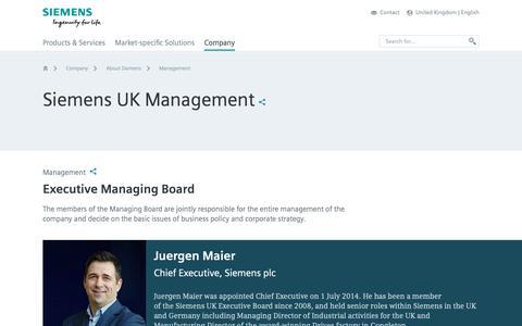 Screenshot of Team Page siemens.com - Management - About Siemens - United Kingdom - captured Oct. 20, 2018