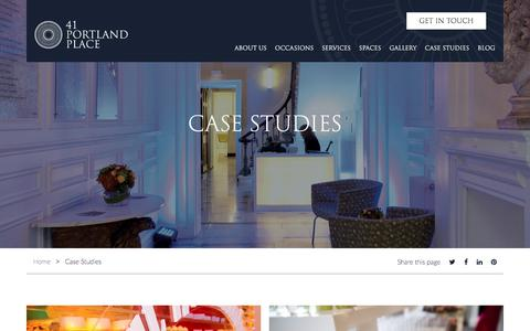 Screenshot of Case Studies Page 41portlandplace.com - Case Studies - 41 Portland Place - captured June 18, 2017