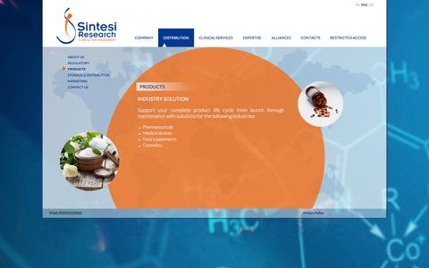 Screenshot of Products Page sintesiresearch.com - Pharmaceutical and biotechnology industry products support   Sintesi Research - captured Feb. 4, 2016