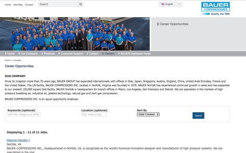 Screenshot of Jobs Page bauercomp.com - Bauer Compressors Inc Career Opportunities - captured April 20, 2018