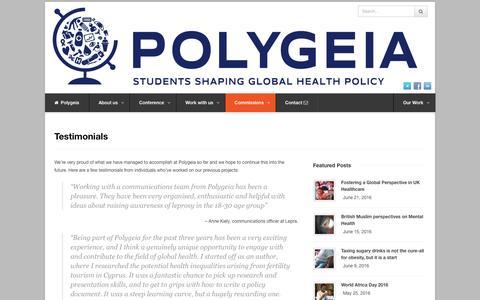 Screenshot of Testimonials Page polygeia.com - Testimonials | Polygeia - captured July 14, 2016