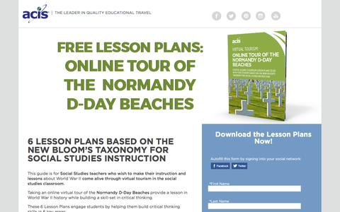 Screenshot of Landing Page acis.com - Online Tour of The Normandy D-Day Beaches Lesson Plans - captured April 13, 2017