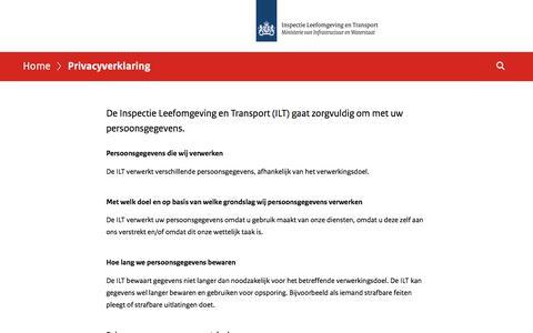 Screenshot of Privacy Page ilent.nl - Privacyverklaring | Inspectie Leefomgeving en Transport (ILT) - captured Sept. 22, 2018