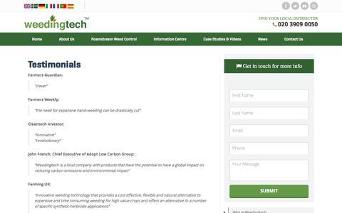 Screenshot of Testimonials Page weedingtech.com - Testimonials - Weedingtech - captured Oct. 20, 2017