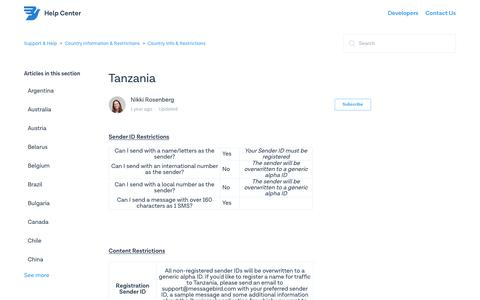 Tanzania – Support & Help
