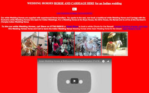 Screenshot of Home Page weddinghorses.com - Wedding Horses White Asian Wedding Horse and Carriage hire for White Asian Indian Wedding - captured Oct. 8, 2017