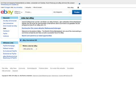 Screenshot of Jobs Page ebay.ch - eBay Schweiz: Jobs - captured July 9, 2016