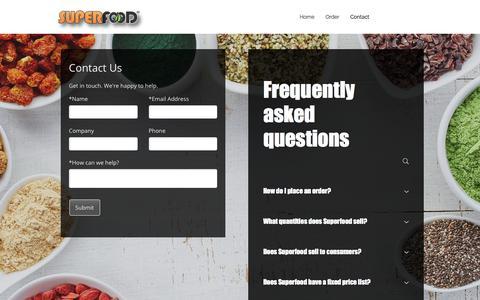 Screenshot of Contact Page superfood.com - Contact - captured Nov. 5, 2017