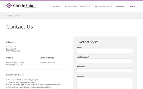 Screenshot of Contact Page check-points.eu - Check-Points - Products \ Check-Direct CPE - captured Dec. 8, 2015