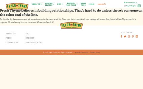 Screenshot of Contact Page freshthyme.com - Contact Us | Fresh Thyme - captured Nov. 11, 2019