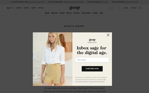 Screenshot of About Page goop.com - What's goop?: The Story Behind the Brand | goop - captured Jan. 20, 2020
