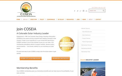 Screenshot of Signup Page coseia.org - The Colorado Solar Energy Industry Leader : Join COSEIA - captured Oct. 3, 2014