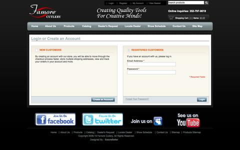 Screenshot of Login Page famorecutlery.com - Customer Login - captured Sept. 19, 2014