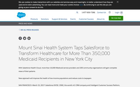 Screenshot of Press Page salesforce.com - Mount Sinai Health System Taps Salesforce to Transform Healthcare for More Than 350,000 Medicaid Recipients in New York City - Salesforce.com - captured Dec. 22, 2018