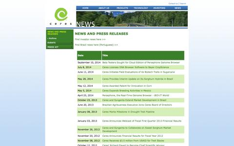 Screenshot of Press Page ceres.net - Ceres - Recent News and Press Releases - captured Sept. 13, 2014