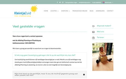 Screenshot of FAQ Page kleintjezuid.nl - F.A.Q. - kinderdagverblijf - captured Oct. 15, 2018