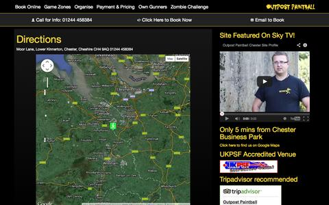 Screenshot of Maps & Directions Page outpostpaintball.co.uk - Directions | Outpost Paintball | Chester & North Wales Best Paintball Experience |  Stag Hen Office Parties - captured Oct. 26, 2014