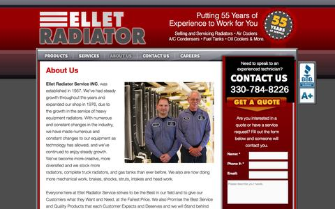 Screenshot of About Page elletradiator.com - About Us   Ellet Radiator - captured Oct. 2, 2014