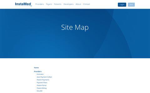 Screenshot of Site Map Page instamed.com - Site Map - InstaMed - captured Sept. 27, 2017
