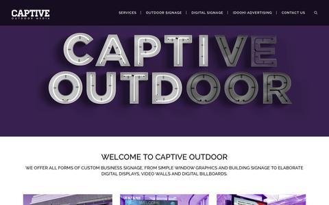 Screenshot of Home Page captiveoutdoor.com - Captive Outdoor Media, Business Signage & Digital Displays - captured Sept. 22, 2015