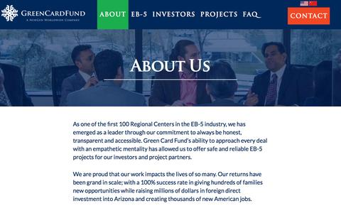 Screenshot of About Page greencardfund.com - Green Card Fund Introduction - Green Card Fund - captured Nov. 13, 2016
