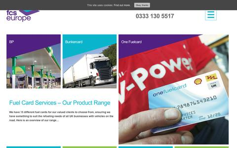 Screenshot of Products Page fuelcardservices.com - Fuel Card Services - Our Products - captured Sept. 1, 2018