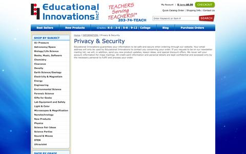 Screenshot of Privacy Page teachersource.com - Privacy & Security - Educational Innovations | Teacher source for science learning, teaching & education: Educational Innovations - captured Sept. 23, 2014