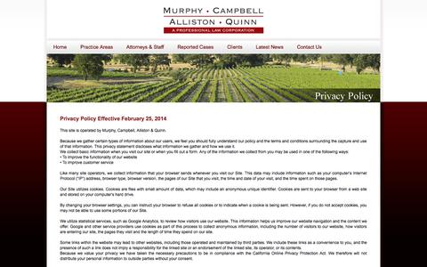 Screenshot of Privacy Page murphycampbell.com - Privacy Policy | Murphy, Campbell, Alliston & Quinn - captured Oct. 9, 2014