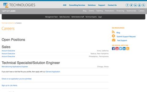 Screenshot of Jobs Page m2t.com - Careers - M2 Technologies - captured Nov. 15, 2016