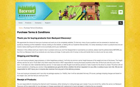 Screenshot of Terms Page swingsetsonline.com - Purchase Terms & Conditions – Backyard Discovery - captured Nov. 3, 2014