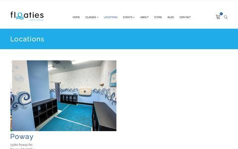 Screenshot of Locations Page floatiesswimschool.com - Locations – Floaties Swim School - captured Aug. 4, 2016