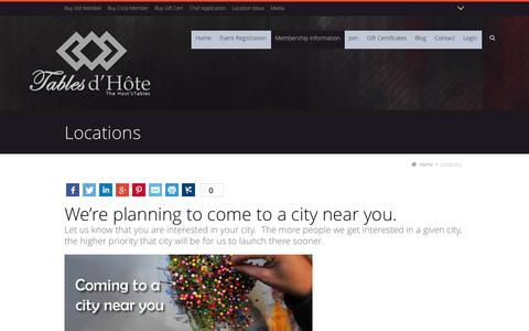 Screenshot of Locations Page tablesdhote.com - Locations - Tables d'Hote - captured Oct. 1, 2014